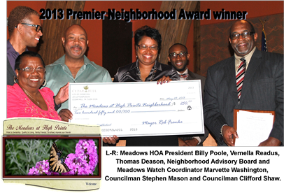 2013 Premier Neighborhood Award Winners accept the big check.