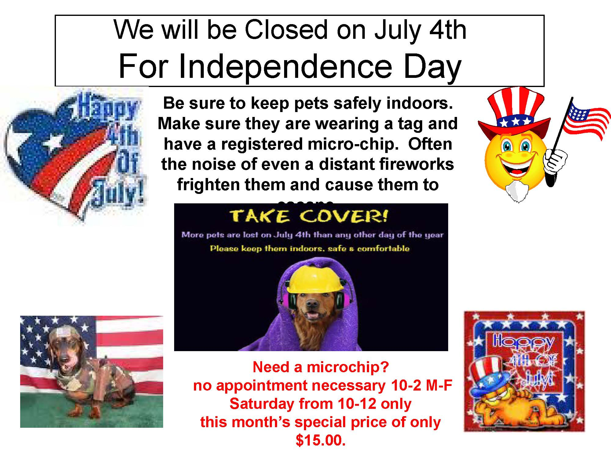 4th of July Closed
