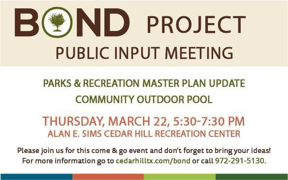 Public Input Meeting - Master Plan & Pool on March 22 at 5:30 p.m. at the Recreation Center