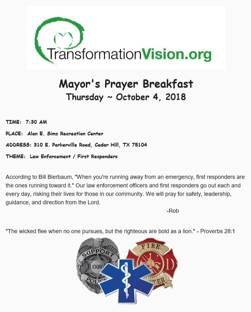 October 2018 Prayer Breakfast