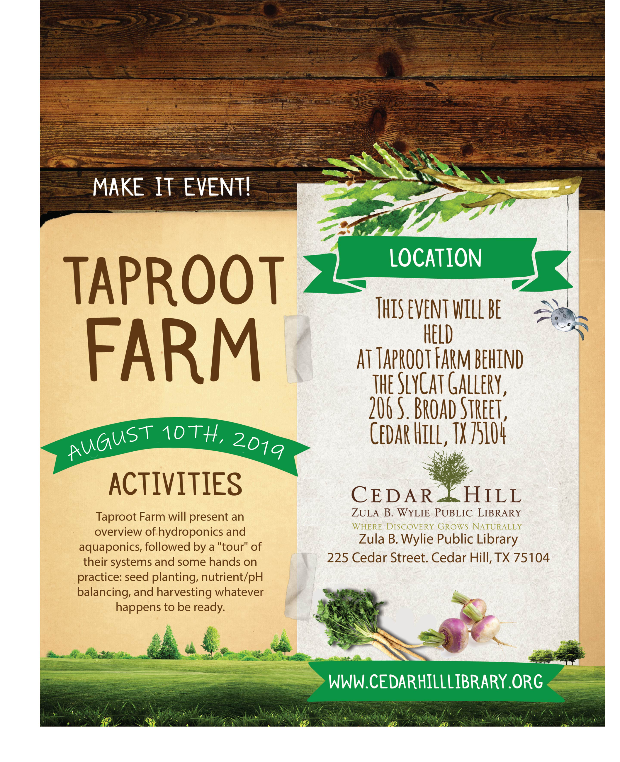 Library Make It Event with Taproot Farms at Sly Cat Gallery