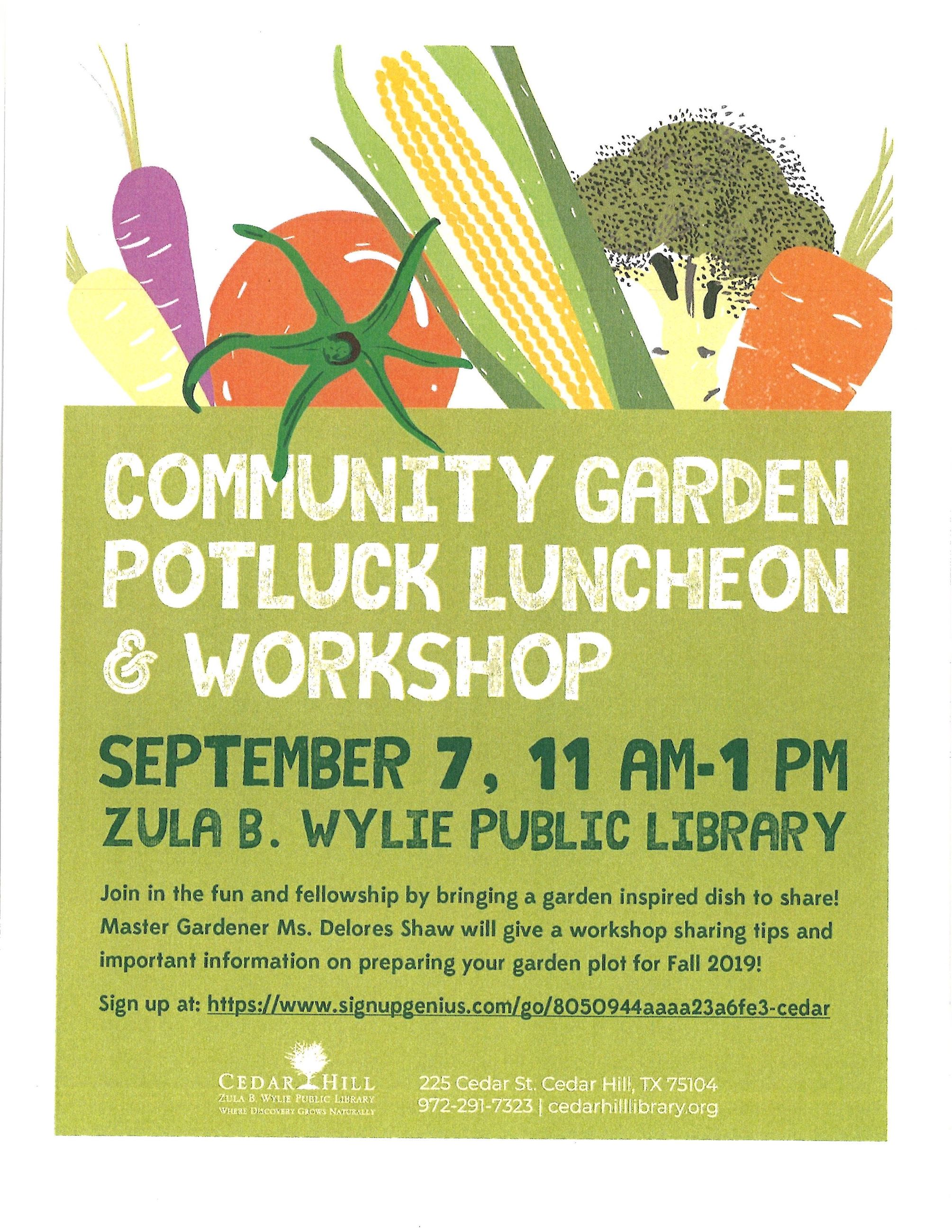 Garden Potluck Luncheon Workshop