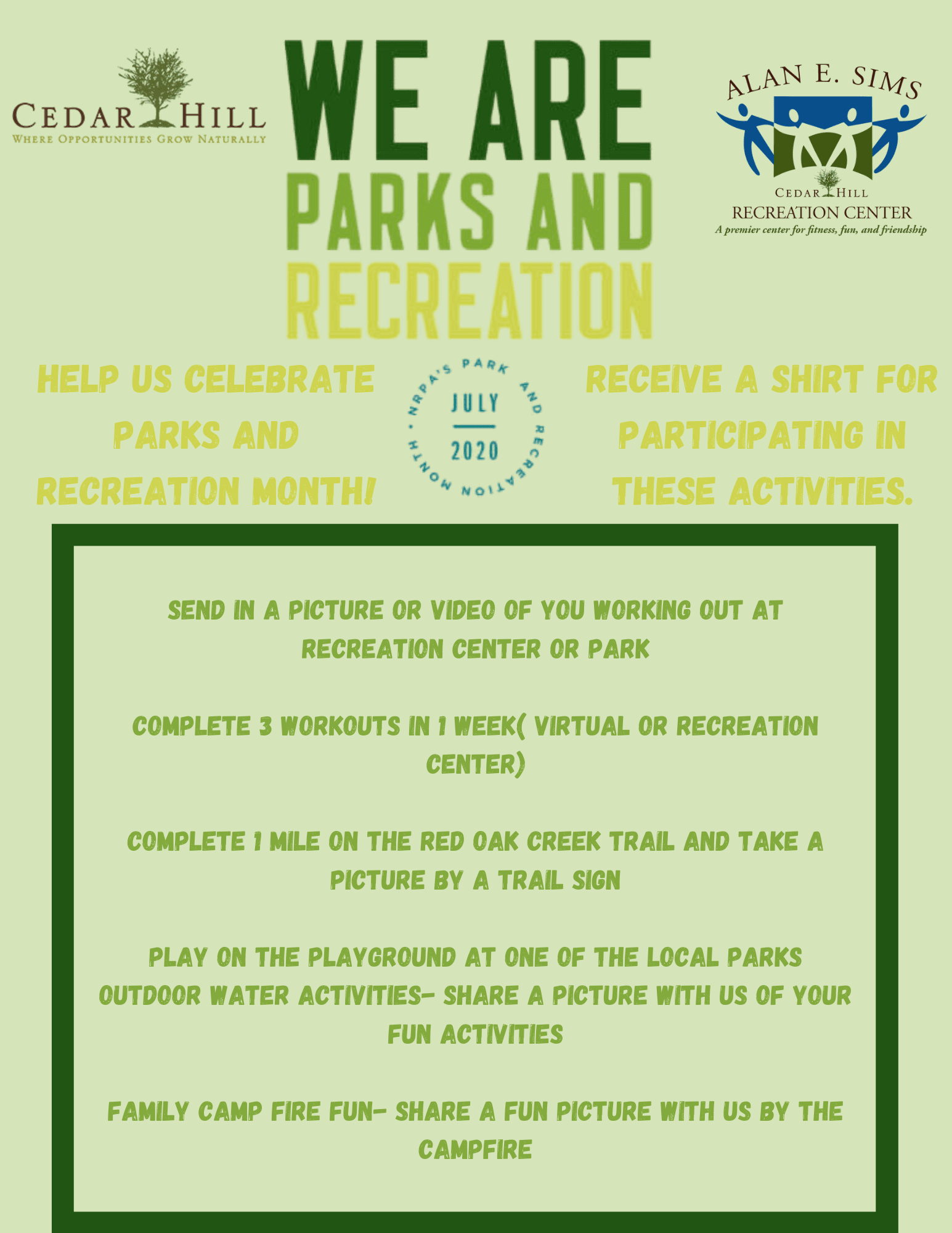 Park and Rec Month Activities Challenge
