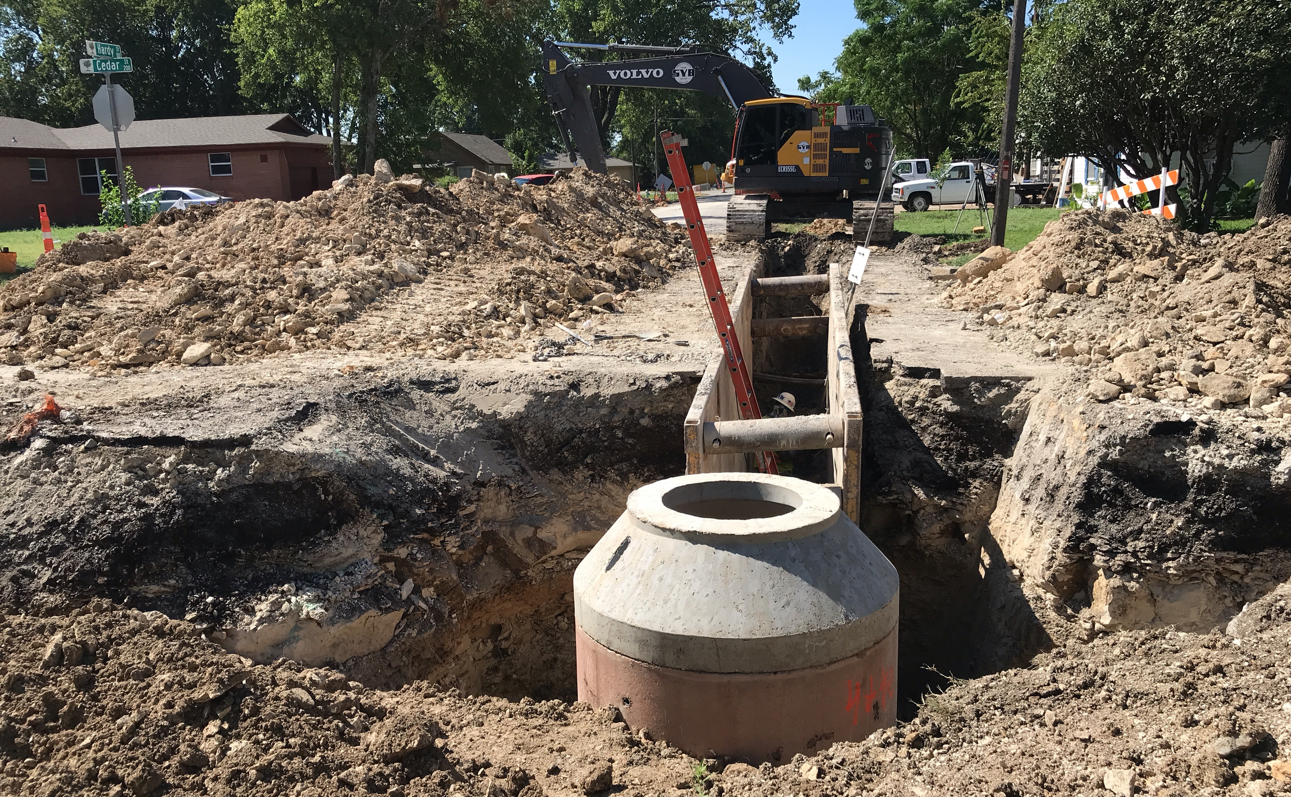 Sanitary Sewer Installation on Cedar Street JPG