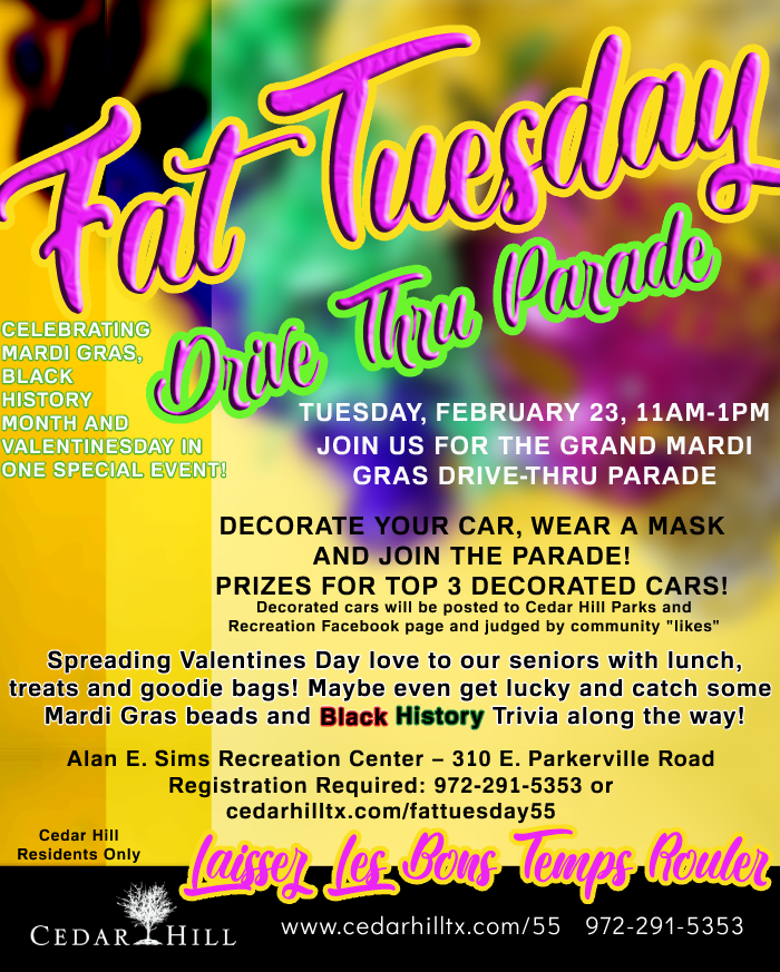 55plus Fat Tuesday Drive through